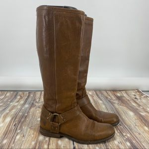 Frye-Phillip Harness Washed Leather Knee High Boot